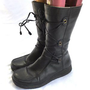 Lace up boots chunky y2k black leather midcalf 36